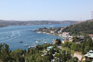 the view of the Bosphorus Strait from the Bogazici Campus