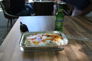 Manti, Turkish dumpling with a yogurt sauce and light chili, very delicious