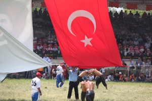 The Turkish flag accidentally fell, the wrestlers are in the match-start position.