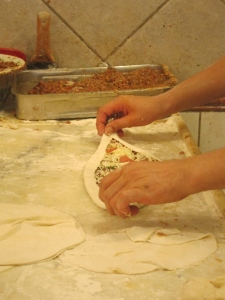 wrapping the edges of the Pide