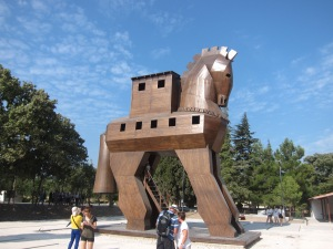 the Trojan Horse replica at Troy