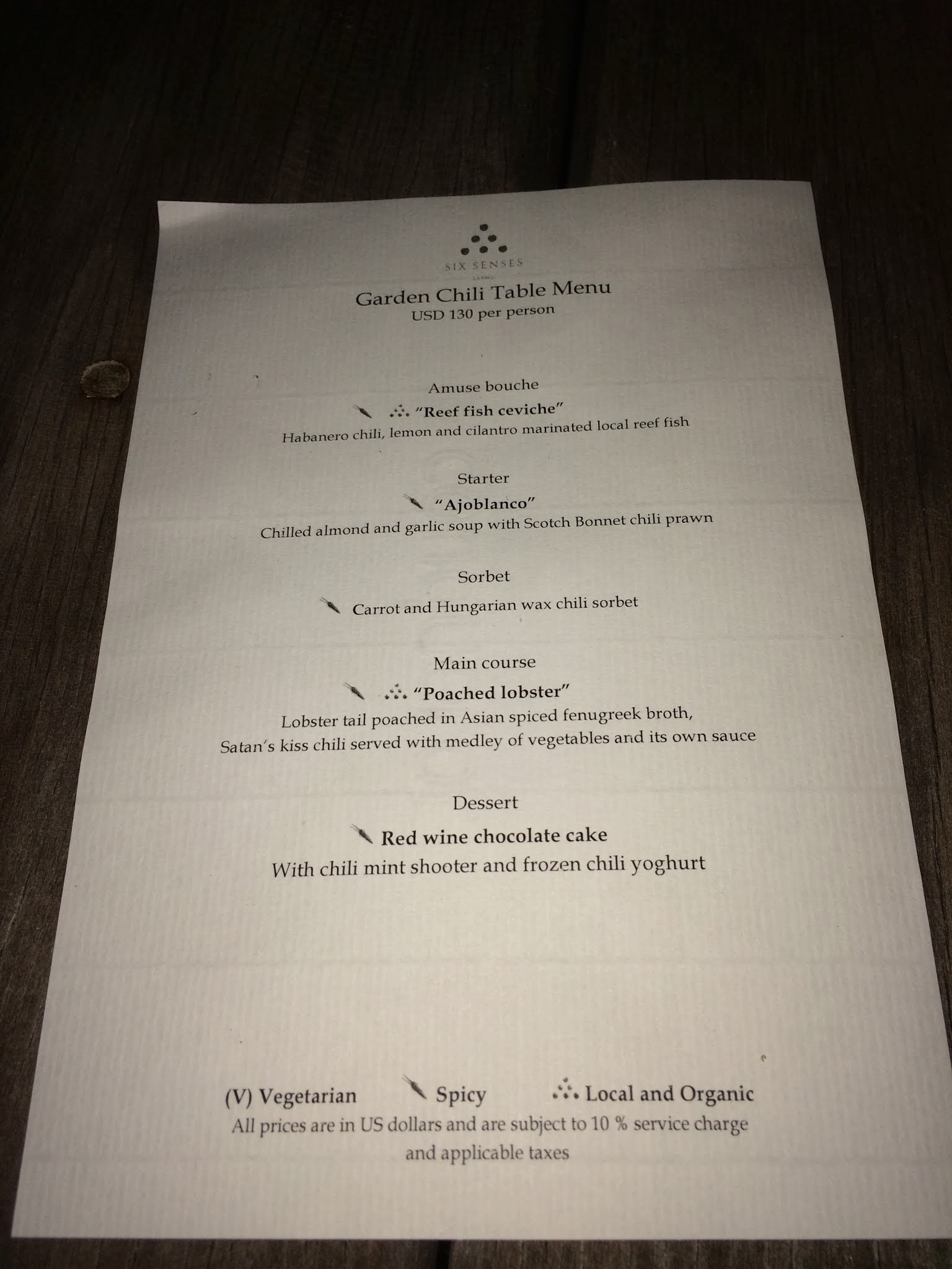 Rustic luxury review of six senses laamu in the republic for Table 6 brunch menu