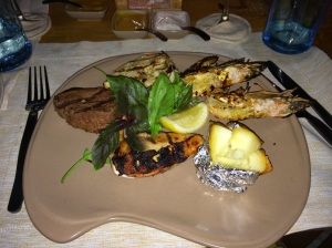 Surf and turf during the private sand bank BBQ