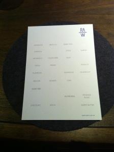 Raw's menu