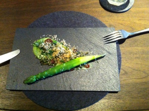 Asparagus with brocoli and burnt miso. One of the better dishes at Raw along with the steak.