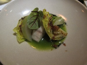 Cobia cooked to perfection with baby cabbage, Taiwanese smoked bacon, sorrel vinaigrette
