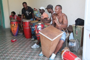 an Afro-Cuban dance troupe rehearses.