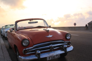Retro cars lined up after our amazing retro-car journey along the Malecon.